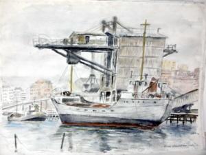Hiekka-aluksia Sörnäisissä, akavrelli 1987, 73x52, 750€