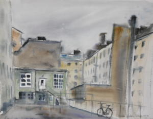 Sisäpiha Kruunuhaassa, akvarelli 2007, 73x52, 650€
