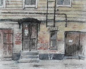 Takapiha Tehtaankadulla, akvarelli + hiili 1990, n 50x40, 300€