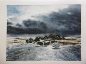 Vanha-Räntty (horisontissa Harmaja) , akvarelli 2009, 72x53, 850€
