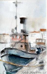 Hinaaja Hietalahdessa, akvarelli 2009, n 10x15, 150€