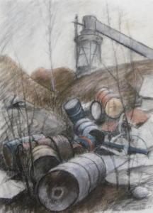 Hiekkamonttu Vuosaaressa, akvarelli+pastelli 1997, 52x73, 650e