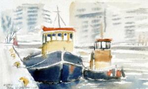 Saattohinaajat Hietalahdessa, akvarelli 2008, n 20x15, 200e