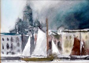 Purjeita Eteläsatamassa, akvarelli 2008, n 20x15, 250€