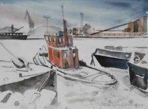 Hinaajia jäissä Sörnäsissä, akvarelli 1995, 52x 37, 350€