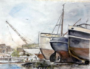 Veneitä Herttoniemen rannassa, akvarelli 1989, 73x52, 750€