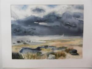 Sadepilvi nousee (Vanha-Räntty), akvarelli 2009, 73x52, 750€
