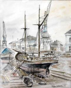 """""""Vivan"""" Suomenlinnan kuivatelakalla, tussi  ja akvarelli 1989, n 50x70, 650€"""