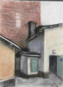 Takapiha Kruunuhaassa, akvarelli + pastelli 2009, 30x40, 350€