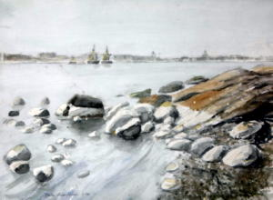 Stadin profiili Hylkysaarelta, akvarelli 1996, 75x55, 550€