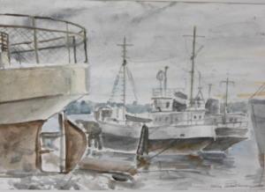 Rautatroolareita Herttoniemessä, akvarelli 1989, 52x38, 350€