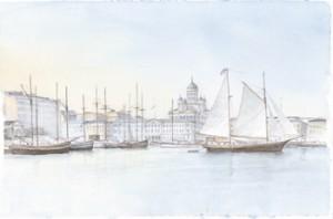 1.Etelä-satama iltavalossa ja Inga-Lill